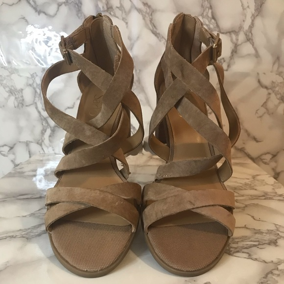 available new concept 100% authentic Franco Sarto Strappy Stacked Heel Sandals